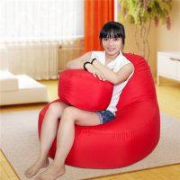 Trọn bộ Ghế lười quả lê màu đỏ GL026 size trung (Chất liệu Kate Phi) Size M