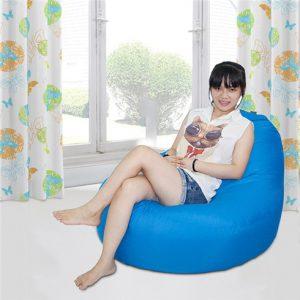 Ghế lười quả lê màu Xanh nước biển (Chất liệu Kate Phi) Size M