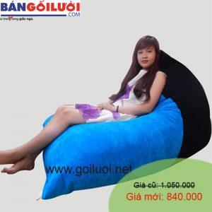 Gối lười Kim Tử Tháp phối màu Xanh - Đen GL205 (Chất liệu Nhung lạnh hàn quốc) Size M