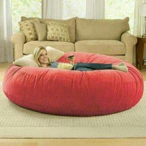 Ghế lười Trụ tròn (hình trứng) màu Đỏ Chất liệu Nhung Lạnh hàn quốc Size XXL (Cỡ Đại)