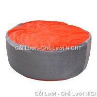 Ghế lười Trụ tròn (hình trứng) phối màu Xám – Cam GL055 Chất liệu Nhung lạnh hàn quốc Size M