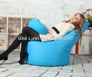 Ghế lười quả lê màu tím GL178 size trung (Chất liệu Kate Phi) Size M
