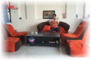 Ghế lười hạt xốp hình sofa GL076 phối màu Cam - Trắng (Chất liệu Kate Phi)