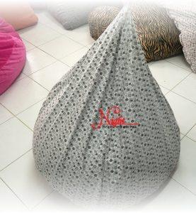 Gối lười hạt xốp giọt nước màu Trắng – Đen chấm bi GL091 (Microsuite cao cấp) Size M