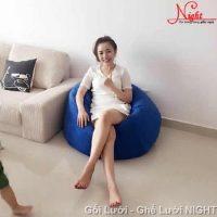 Gối lười hình giọt nước màu Xanh Lam GL111 (Chất liệu nhung lạnh hàn quốc) Size M