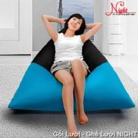 Gối lười Kim Tử Tháp phối màu Xanh-Đen GL0115 (Chất liệu Kate phi mát lạnh) Size M