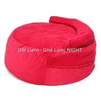 Ghế lười Trụ tròn (hình trứng) phối màu Đỏ GL138 Chất liệu Nhung lạnh hàn quốc Size M