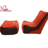 Trọn bộ Ghế lười hạt xốp hình sofa GL078 màu Cam – Nâu (Chất liệu Nhung Cao Cấp)