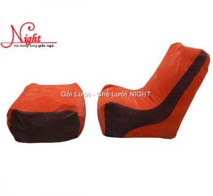 Ghế lười hạt xốp hình sofa GL078 màu Cam - Nâu (Chất liệu Nhung Cao Cấp)