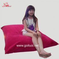 Gối lười hình chữ nhật màu đỏ GL098 (Chất liệu Nhung Lạnh nhập khẩu) Size M