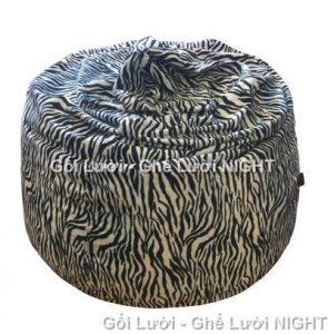 Gối lười hạt xốp hình giọt nước Ngựa Vằn (Chất liệu Nhung Lạnh nhập khẩu) Size M