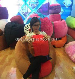 Ghế lười Trụ tròn (hình trứng) phối màu Nâu - Đỏ GL159 Chất liệu Nhung lạnh hàn quốc Size M