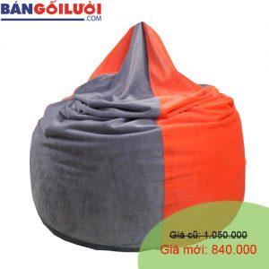 Gối lười hạt xốp hình giọt nước phối màu xám cam GL200 (Chất liệu Nhung lạnh hàn quốc) Size M