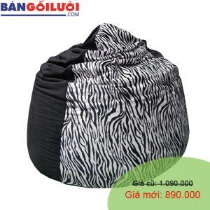 Gối lười hạt xốp hình giọt nước phối màu đen ngựa vằn GL199 (Chất liệu Nhung lạnh hàn quốc) Size M