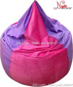 Gối lười hạt xốp hình giọt nước phối màu GL059 (Chất liệu Nhung lạnh hàn quốc) Size M