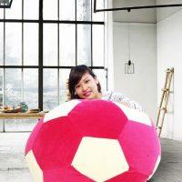 Ghế lười hình trái banh QB007 đỏ – trắng (Chất liệu Nhung lạnh HQ) Size L