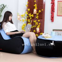 Trọn bộ Ghế lười hạt xốp hình sofa GL207 màu Xanh – đen (Chất liệu Nhung Cao Cấp)