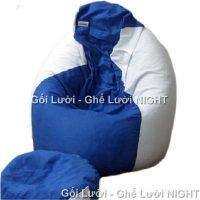 Tọn bộ gối lười hạt xốp hình giọt nước phối màu Trắng – Xanh GL128 (Chất liệu Nhung lạnh hàn quốc) Size M