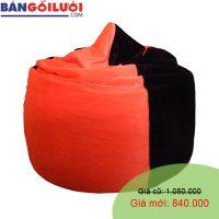 Gối lười hạt xốp hình giọt nước màu đen cam GL201 (Chất liệu Nhung lạnh hàn quốc) Size M