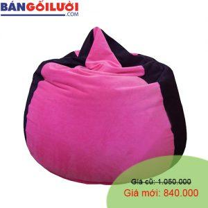 Gối lười hạt xốp hình giọt nước màu đen hồng GL202 (Chất liệu Nhung lạnh hàn quốc) Size M