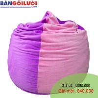 Gối lười hạt xốp hình giọt nước màu tím hồng GL203 (Chất liệu Nhung lạnh hàn quốc) Size M