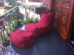 Ghế lười hạt xốp hình sofa GL100 phối màu Cam - Kem (Chất liệu Kate phi mát lạnh)