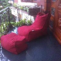 Trọn bộ Ghế lười hạt xốp hình sofa GL079 màu Đỏ đô (Chất liệu Microsuite)