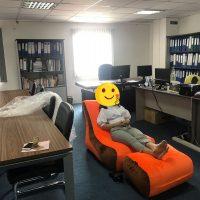 Trọn bộ Ghế lười hạt xốp hình sofa phối màu Cam – Nâu (Chất liệu Nhung Cao Cấp)