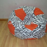 Ghế lười hình trái banh QB010 Cam – Ngựa Vằn (Chất liệu Nhung lạnh hàn quốc) Size M