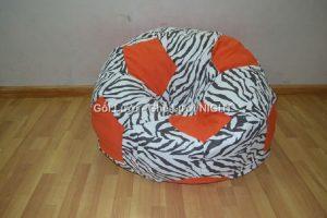 Ghế lười hình trái banh QB010 Cam - Ngựa Vằn (Chất liệu Nhung lạnh hàn quốc) Size M