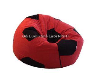 Ghế lười hình trái banh QB008 Đỏ - Đen (Chất liệu Nhung lạnh hàn quốc) Size M