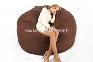 Ghế lười Trụ tròn (hình trứng) màu nâu GL156 (Chất liệu Micorosuite) Size L (Cỡ Đại)