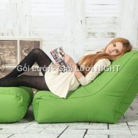 Trọn bộ Ghế lười hạt xốp hình sofa GL152 màu Xanh cốm (Chất liệu Kate phi)