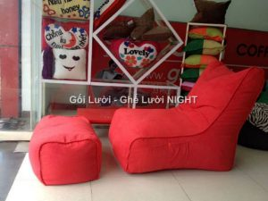 Ghế lười hạt xốp hình sofa GL131 phối màu Tím - Đen
