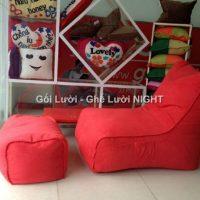Trọn bộ Ghế lười hạt xốp hình sofa GL146 màu Đỏ đô (Chất liệu Nhung Cao Cấp)