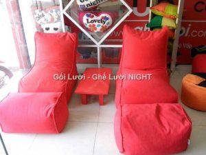 Ghế lười hạt xốp hình sofa GL146 màu Đỏ đô (Chất liệu Nhung Cao Cấp)
