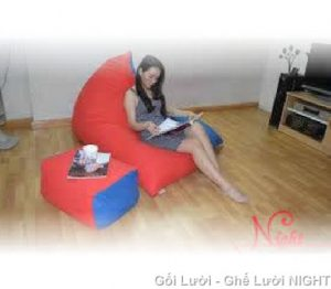 Gối lười Kim Tử Tháp phối màu xanh-đỏ GL092 (Chất liệu Nhung Cao Cấp) Size M