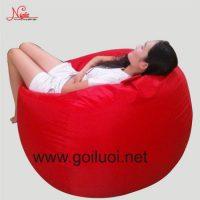 Gối lười hạt xốp hình giọt nước màu đỏ GL094 (Chất liệu Nhung Lạnh) Size L (Cỡ Đại)