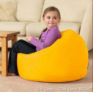 Gối lười hạt xốp hình giọt nước màu vàng GL002 (Chát liệu Kate Phi) Size S