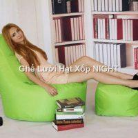 Ghế lười quả lê màu xanh lá GL177 size trung (Chất liệu Kate Phi) Size M