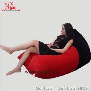 Gối lười Kim Tử Tháp phối màu Đỏ - Đen GL101 (Chất liệu Nhung lạnh hàn quốc) Size M