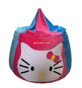 Gối lười hạt xốp giọt nước hoạt hình Kitty phối màu Xanh-Hồng (Chất liệu Nhung lạnh hàn quốc) Size M