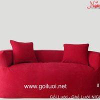 Trọn Bộ 3 Ghế lười hạt xốp có tay vịn màu đỏ 2 người ngồi GL096 (Chất liệu Nhung lạnh Hàn Quốc)