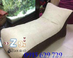 Giường lười hạt xốp GL087 màu Xám - Đen (Chất liệu Nhung Lạnh Hàn Quốc cao cấp)