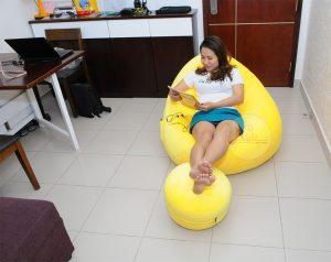 Trọn bộ Gối lười hạt xốp hình giọt nước màu vàng tươi tắn GL108 (Chất liệu Vải Nhung Lạnh Hàn Quốc) Size L (Cỡ Đại)