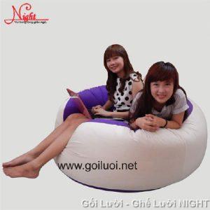 Ghế lười Trụ tròn (hình trứng) phối tím - trắng độc đáo GL052 Chất liệu Nhung Lạnh hàn quốc Size L (Cỡ Đại)